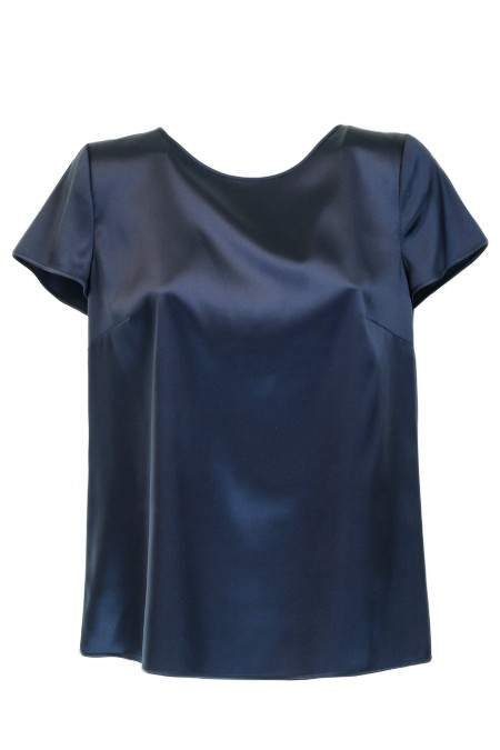 Shop ARMANI COLLEZIONI  T-shirt: Armani Collezioni silk t-shirts. Round neckline. Short sleeves. Back drop closure with button. Composition: 94% silk 6% elastane.. VMC05T VM301-916