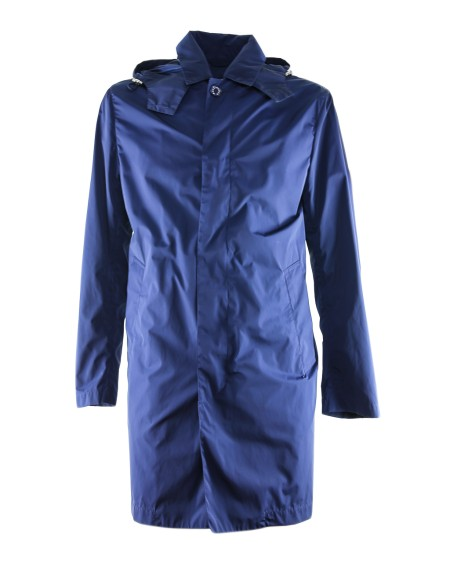 Shop MACKINTOSH Saldi Cappotto: Mackintosh cappotto lungo blu impermeabile con due tasche laterali, cappuccio elasticizzato.. 4705 MPMP GM043B-MP01