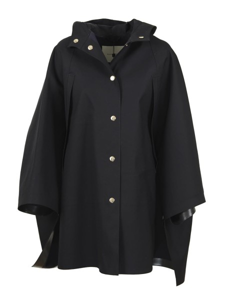Shop MACKINTOSH Sales Cloak: Mackintosh black cape. With fixed hood. Button closure. Golden details. Made in Scotland.. 6145 7R3S LR026-7R02