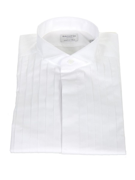Shop BAGUTTA  Shirt: Bagutta white tuxedo shirt. Simple cuff. Pleating on the front. Hidden buttoning. Diplomatic neck. Made in Italy.. BPARIGIV CN0170-001