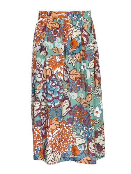Shop BAGUTTA  Skirt: Bagutta skirt with floral patterns. Light sea green background. Two lateral pockets. 100% cotton.. RMARTAL 08108-660