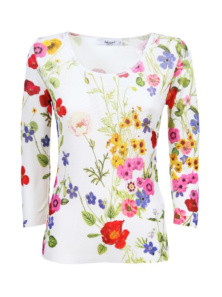 Shop BLUGIRL  Pullover: Blugirl white viscose shirt. Round neckline. Long sleeves. Floral fantasy. Composition: 100% viscose. Made in Italy.. 5202-00098
