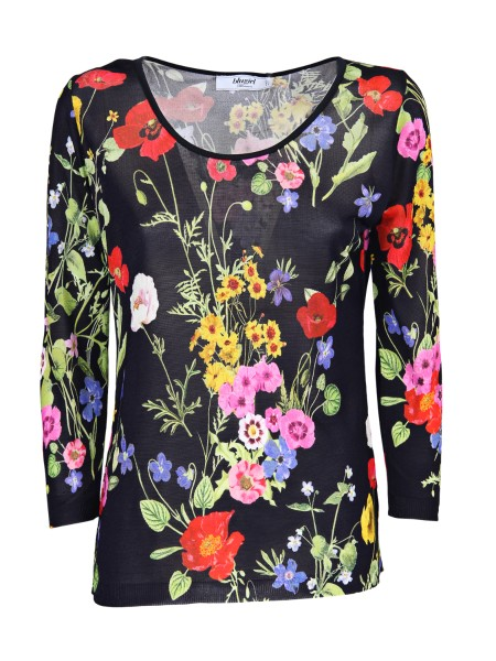 Shop BLUGIRL  Pullover: Blugirl black viscose shirt. Round neckline. Long sleeves. Floral fantasy. Composition: 100% viscose. Made in Italy.. 5202-00140