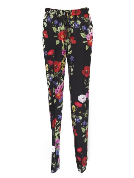Shop BLUGIRL  Trousers: Blugirl black trousers with floral print. Elastic and drawstring at the waist. Wide fit. Composition: 100% polyester. Dry clean only.. 5348 -00140