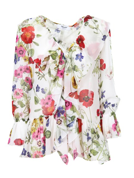 Shop BLUGIRL  Shirt: Blugirl shirt fantasy. V-neckline Long sleeves. Rouche on the front. Closing with hooks. Floral fantasy. Composition: 100% polyester.. 5369 -00098