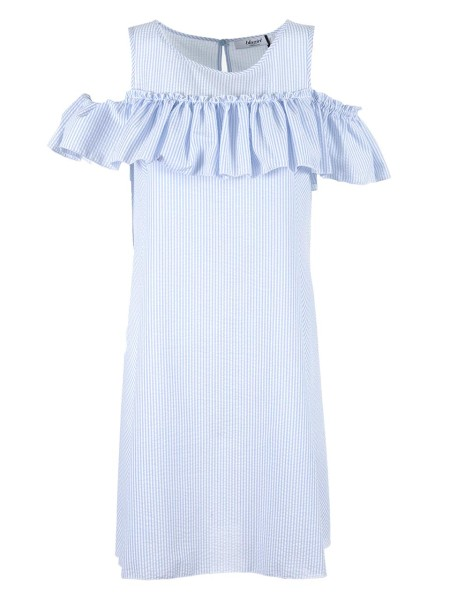Shop BLUGIRL  Dress: Blugirl dress in cotton blend with white and light blue stripes. Sleeveless. Midi length. Volant on the carrè. Back drop closure with button. Composition: 65% polyester 35% cotton. Do not wash. Do not bleach. Iron at low temperature. Gentle dry cleaning with perchlorethylene. Do not dry. Made in Italy.. 5401-00116