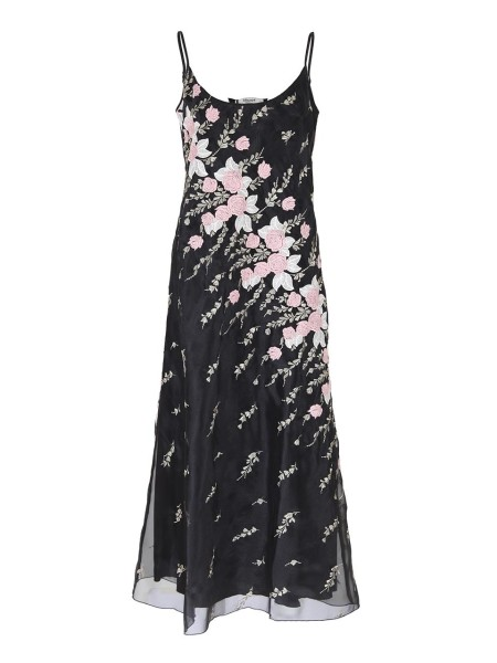 Shop BLUGIRL  Dress: Blugirl embroidered black dress. Floral fantasy with roses. Sleeveless. Round neckline, deep. Thin straps. Composition: 100% polyester. Made in Italy.. 5415-00140