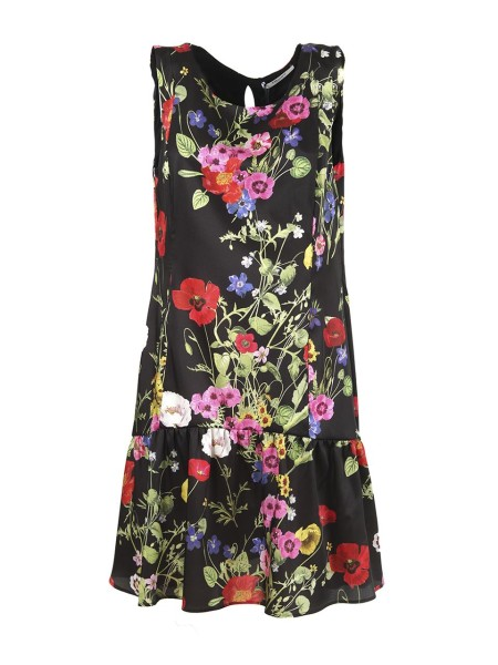 Shop BLUGIRL  Dress: Blugirl dress with black floral print. Sleeveless. Round neckline. Flounced on the bottom. Slim fit on the waist. Composition: 100% polyester. Do not wash. Do not bleach. Iron at low temperature. Gentle dry cleaning with perchlorethylene. Do not dry.. 5420 -00140