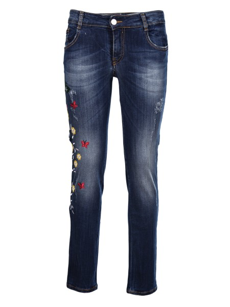Shop BLUGIRL  Jeans: Blugirl Jeans five pockets. Slim fit. Side embroidery of colorful flowers. Closure with zip and buttons. Composition: 98% cotton 2% elastane. Made in Italy.. 5545-00170
