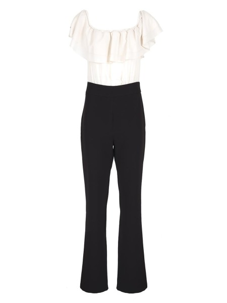 Shop BLUGIRL  Suit: Blugirl two-colored suit, black and white. Rounded and accentuated neckline. Ruffle on the front. High waist. Flared trousers on the bottom. Sleeveless. Back zip closure. Composition: 88% polyester 12% elastane. Made in Italy.. 5625 -02153