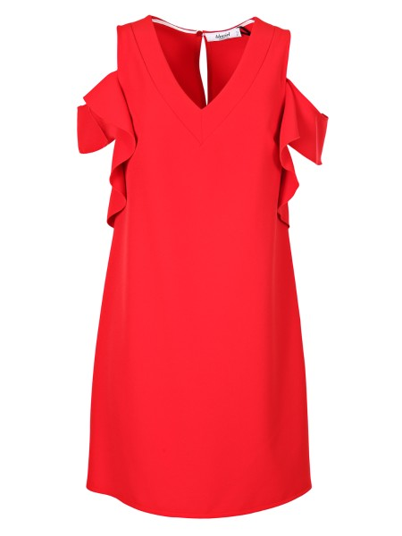 Shop BLUGIRL  Dress: Blugirl short dress in stretch jersey. Bare shoulders. V-neckline Volants applied on the sides. Back closure with button. Composition: 88% polyester 12% elastane. Made in Italy.. 5628-00152