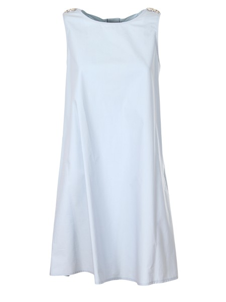 Shop BLUGIRL  Dress: Blugirl dress in trapezium in cotton. Asymmetric hem. Sleeveless. Application of rhinestones on the shoulder straps. Flakes on the back forming a porthole. Composition: 100% cotton. Made in Italy.. 5650-00105