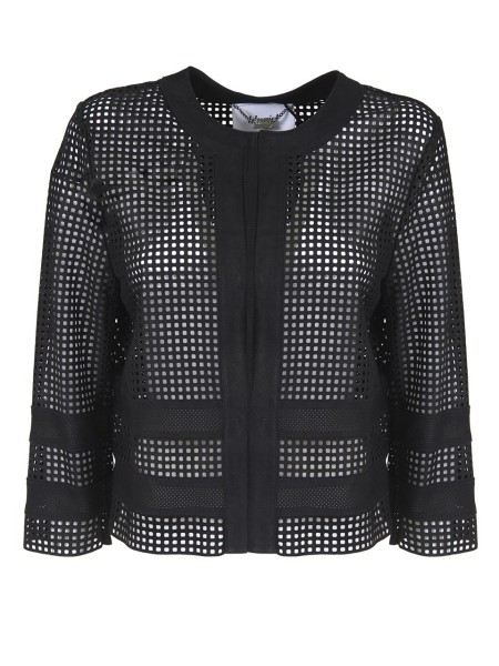 Shop BLUGIRL  Short Coat: Blugirl jacket in perforated leather. Front closure with hooks. Round neckline. 3/4 sleeves. Composition: 100% lambskin. Do not wash.. 5705-00140