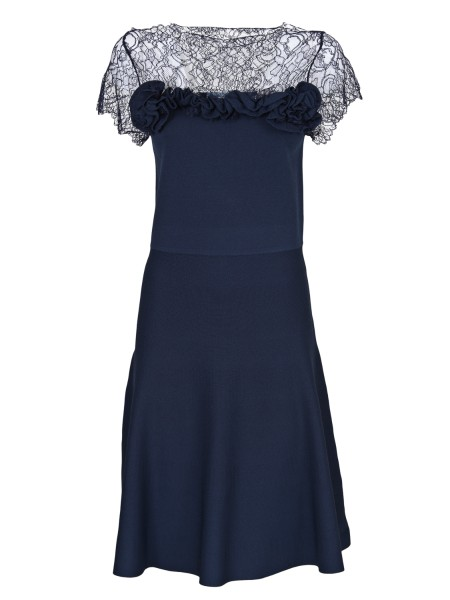Shop BLUMARINE  Dress: Blumarine dressed in light knit. Embellished with a lace carré trimmed with a double ruche. Short sleeves. Round neckline. Composition: 65% viscose 35% polyamide. Made in Italy.. 1153-00109