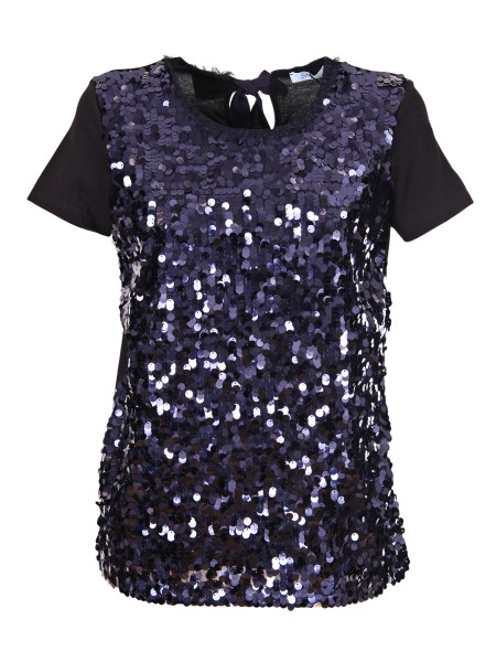 Shop BLUMARINE  T-shirt: Blumarine Cotton t-shirt with maxi-sequins. Neck with small frappina. Closure with bow on the back. Composition: 100% cotton. Made in Italy.. 1465-00706