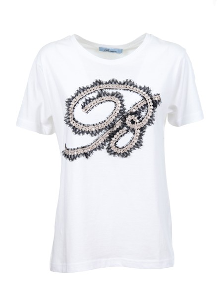 Shop BLUMARINE  T-shirt: Blumarine Cotton jersey T-shirt. Embroidered logo with lace and trimmings. Short sleeves. Slim fit. Round neckline. Composition: 100% cotton. Made in Italy.. 1466-00107