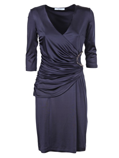 Shop BLUMARINE  Dress: Blumarine dress in blue viscose. Draping on the front. Rhinestone application on the left side. Deep V-neckline Composition: 95% viscose 5% elastane. Made in Italy.. 1514-00111