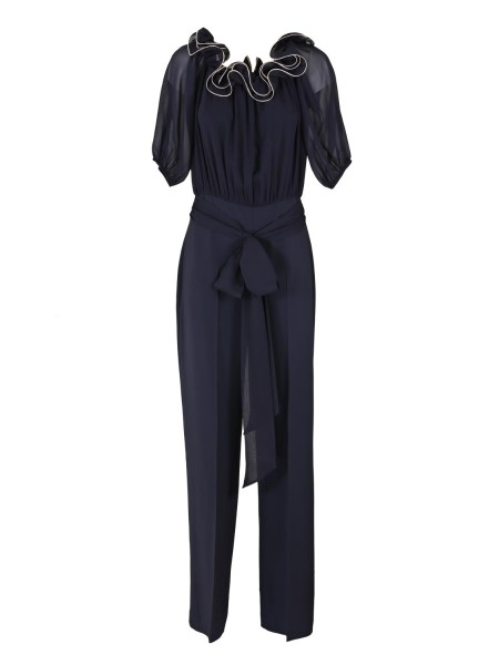 Shop BLUMARINE  Suit: Blumarine jumpsuit, blue, viscose. Shoulders exposed. Chiffon bodice with contrasting ruffle. Belt belt. Short sleeves. Composition: 100% viscose. Made in Italy.. 1522-01447