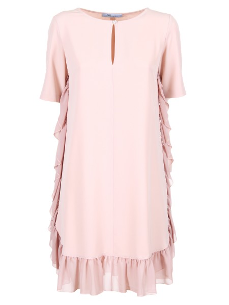 Shop BLUMARINE  Dress: Blumarine dress with a drop-shaped neckline closed by a jewel button. Side application of volants in voile that comes down to profile the edge. Short sleeves. Composition: 95% polyester 5% elastane. Made in Italy.. 1567-00185