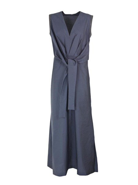 Shop BRUNELLO CUCINELLI  Dress: Brunello Cucinelli long evening dress in cotton. Bright details embellish it. Sleeveless. Sash. Composition: 75% cotton 25% polyamide. Made in Italy.. M0F79A4338-C7186