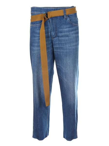 Shop BRUNELLO CUCINELLI  Trousers: Brunello Cucinelli cotton denim. Loose and straight cut. Band on the waistline. Composition: 100% cotton. Made in Italy.. M0H72P5287-C7756