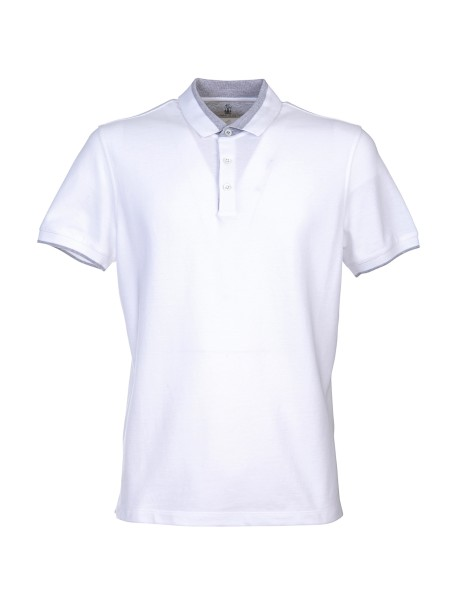 Shop BRUNELLO CUCINELLI  Polo Shirt: Brunello Cucinelli cotton polo shirt. Contrasting details. Short sleeves. Closure with three buttons. Soft collar. Composition: 100% cotton. Made in Italy.. M0T730758-CT489