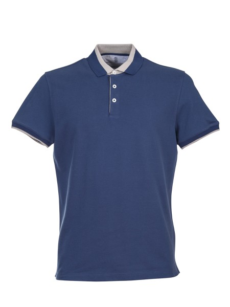 Shop BRUNELLO CUCINELLI  Polo Shirt: Brunello Cucinelli cotton polo shirt. Contrasting details. Short sleeves. Closure with three buttons. Soft collar. Composition: 100% cotton. Made in Italy.. M0T730758-CT700