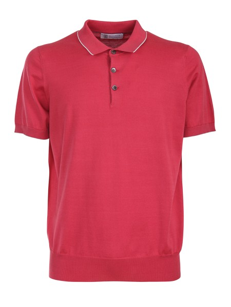 Shop BRUNELLO CUCINELLI  Polo Shirt: Brunello Cucinelli cotton polo shirt. Light and soft collar. Contrasting profiles. Short sleeves. Three-button closure. Composition: 100% cotton. Made in Italy.. M2981125-CE233