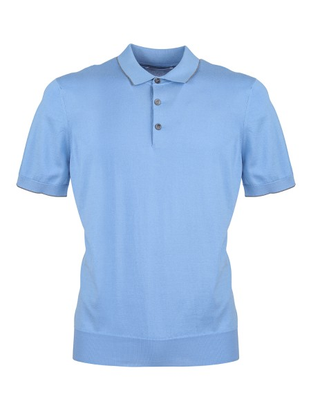 Shop BRUNELLO CUCINELLI  Polo Shirt: Brunello Cucinelli cotton polo shirt. Light and soft collar. Contrasting profiles. Short sleeves. Three-button closure. Composition: 100% cotton. Made in Italy.. M2981125-CO224