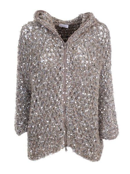 "Shop BRUNELLO CUCINELLI  Short Coat: Brunello Cucinelli ""Dazzling Net"" cardigan with hood. Inserts in sequins, of various sizes. Central closure with double-slider zip. Composition. 43% cotton, 20% polyurethane, 17% polyester, 12% polyamide, 4% acrylic. Wash by hand or dry. Made in Italy.. M4N374016-CB551"