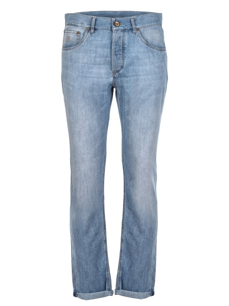 Shop BRUNELLO CUCINELLI  Jeans: Brunello Cucinelli five-pocket trousers in super light cotton canvas. Traditional fit. Closure with zip and buttons. Composition: 100% cotton. Made in Italy.. ME645D2210-C1469