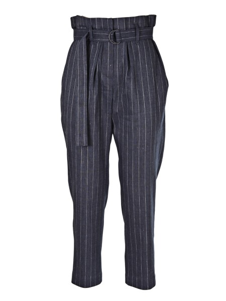 Shop BRUNELLO CUCINELLI  Trousers: Brunello Cucinelli pinstriped denim. High waist. Belt included. Ankle length. Two back pockets. Composition: 52% Linen, 46% Virgin Wool, 2% Elastane. Made in Italy.. MF554P6588-C003