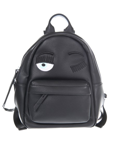 "Shop CHIARA FERRAGNI  Backpack: Chiara Ferragni small backpack in black leather with ""flirting"" embroidery. External composition: 100% polyurethane. Made in Italy.. CF Z000-N"