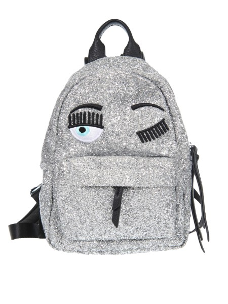 "Shop CHIARA FERRAGNI  Backpack: Chiara Ferragni small backpack in silver glitter with ""flirting"" embroidery. External composition: 100% polyurethane. Made in Italy.. CF Z004-A"