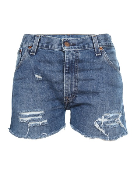 "shop CHIARA FERRAGNI  Short: Chiara Ferragni denim shorts. ""I'm over flirting"" back print. Used and vintage appareance. Made in Italy.. CFS 013-D number 8305451"