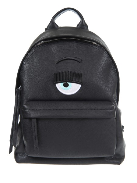 "Shop CHIARA FERRAGNI  Backpack: Chiara Ferragni backpack in black leather with ""eye"" logo embroidery. Composition: 100% polyurethane. Made in Italy.. CFZ 035-N"
