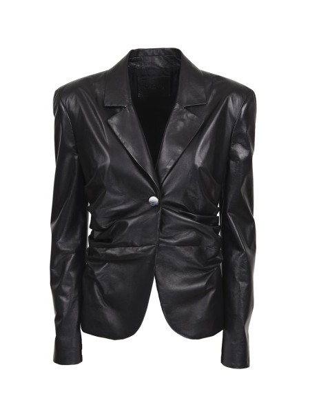 Shop DROME  Jacket: Drome blazer in black leather. Gathered on the sides. Single metal button closure. Long sleeves. Rounded hem. Composition. 100% lambskin. Washing in specialized laundries. Made in Italy.. DPD 2787 D400N-800