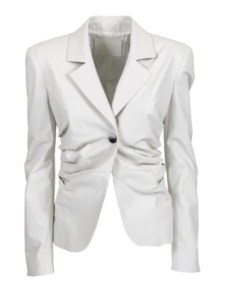 Shop DROME  Jacket: Drome blazer in white leather. Gathered on the sides. Single mother-of-pearl button closure. Long sleeves. Rounded hem. Composition. 100% lambskin. Washing in specialized laundries. Made in Italy.. DPD 2787 D400N-A076