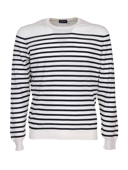 Shop DRUMOHR  Pullover: Drumohr crew-neck sweater in cotton and cashmere. Long sleeves. Pattern with horizontal stripes. Round neckline. Regular fit. Composition: 85% cotton 15% cashmere. Made in Italy.. D0A103R-001
