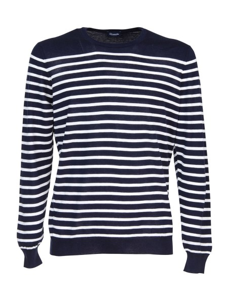 Shop DRUMOHR  Pullover: Drumohr crew-neck sweater in cotton and cashmere. Long sleeves. Pattern with horizontal stripes. Round neckline. Regular fit. Composition: 85% cotton 15% cashmere. Made in Italy.. D0A103R-002