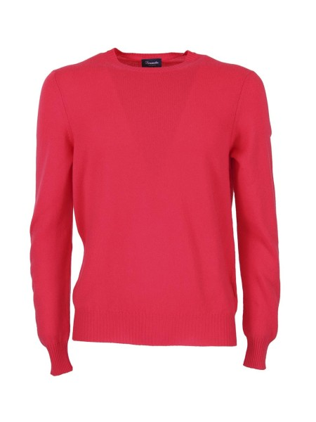Shop DRUMOHR  Pullover: Drumohr red coral cashmere sweater. Round neck. Ribbed cuffs and hem. Regular fit. Composition: 100% cashmere. Made in Italy.. D1K303-325