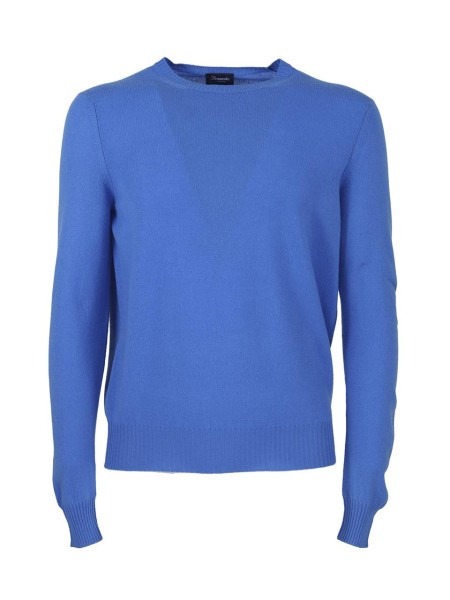 Shop DRUMOHR  Pullover: Drumohr blue cashmere sweater. Round neck. Ribbed cuffs and hem. Regular fit. Composition: 100% cashmere. Made in Ital. D1K303-745