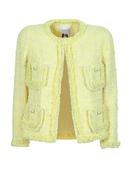 Shop EDWARD ACHOUR Sales Short Coat: Edward Achour bouclé jacket, yellow. Round neckline. Edges with fringes. Four pockets with pearls. Closing with hook. Composition: 67% cotton 26% polyamide 7% viscose.. 481035-6310C