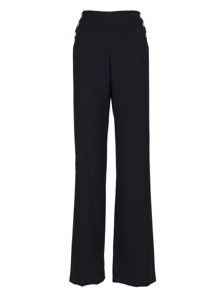 Shop EDWARD ACHOUR  Trousers: Edward Achour crepe black trousers. Floral buttons on the front. High waist. Composition. 100% polyester.. 483008-6360C