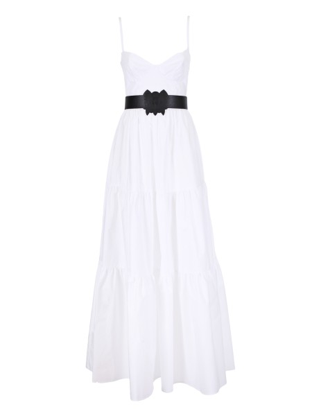 Shop ELISABETTA FRANCHI  Dress: Elisabetta Franchi long dress, white, in cotton. Sleeveless. Off shoulders. Belt included. Composition: 100% cotton. Made in Italy.. AB39582E2-100