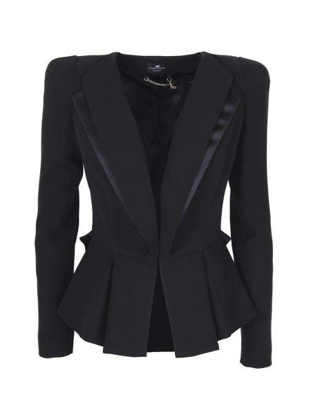 Shop ELISABETTA FRANCHI  Jacket: Elisabetta Franchi jacket in firm, black crepe. V-neck. Front closure with hooks. Satin inserts. Duchesse bow with CC logo and EF gold. Short cut. Slim fit. Composition: 88% Viscose 12% virgin wool. Made in Italy.. GI04881E2-110
