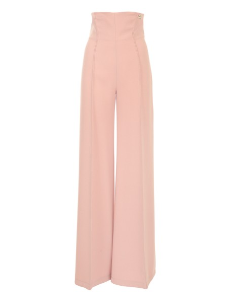 "Shop ELISABETTA FRANCHI  Trousers: Elisabetta Franchi pants in antique pink firm crepe. High waist. Application with gold light logo. Invisible zip closure on the back. "" Palazzo "" cut. Tight fit at the waist. Composition: 100% Polyester. Made in Italy.. PA12381E2-153"