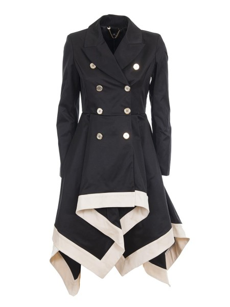 Shop ELISABETTA FRANCHI  Duster: Elisabetta Franchi black dust coat. Double-breasted with eight gold-toned buttons. Long sleeve. White at the bottom. The lower part is longer on the back. Wavy and wide lower part. Slim upper part.. SP03Z81E2-G80