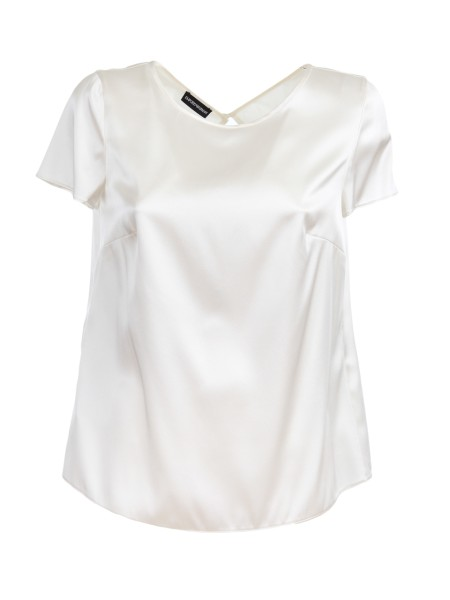 Shop EMPORIO ARMANI  Top: Emporio Armani blouse in white silk. Short sleeves. Round neckline. Regular fit. Composition: 95% silk 5% elastane.. 0NC05T 0M301-101