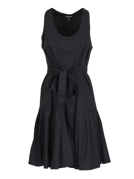 Shop EMPORIO ARMANI  Dress: Emporio Armani black dress in cotton. Round neckline. Sleeveless. Sash on the waistline. Flared, pleated skirt. Composition: 76% cotton 21% polyamide 2% elastane.. 3Z2A61 2N2IZ -999